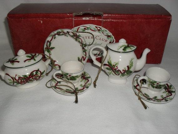 Miniature Tea Set Christmas Tree Ornaments in Box