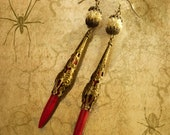 Chinese Carved Ivory Earrings Red  Coral Dagger shoulder duster sexy vixen