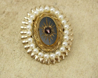 Vintage Edwardian Brooch  Seed pearl Black glass garnet Rhinestone gold glass