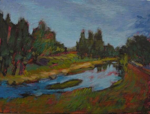 Tracy's River - Original Acrylic Oil Encaustic Landscape Painting