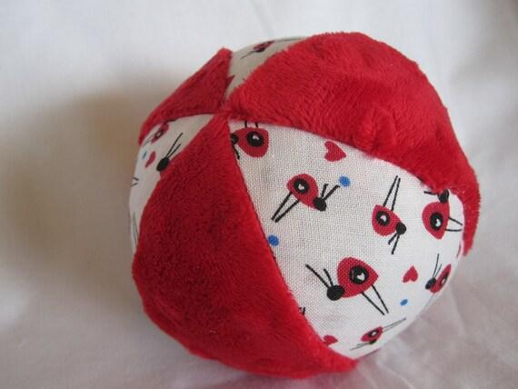 Cloth Jingle Ball Baby Toy with Ladybug fabric