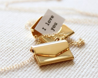 Gold Locket, Envelope with Secret Message Inside (Priority Shipping)