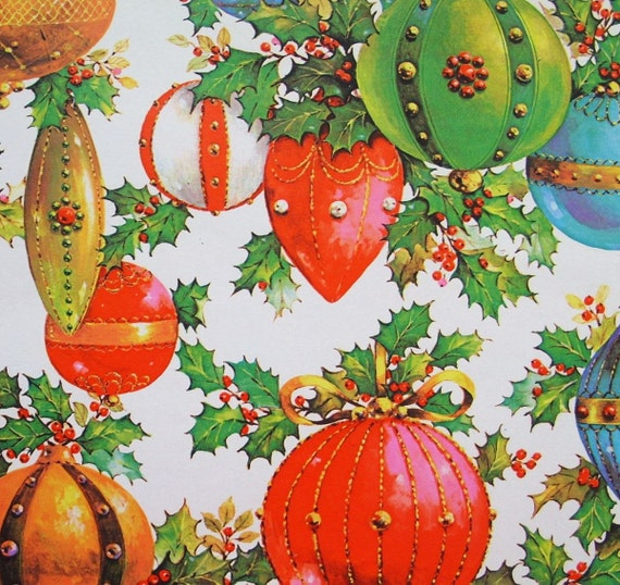 Vintage Ornaments and Holly Christmas Wrapping Paper Full Sheet 20 x 30
