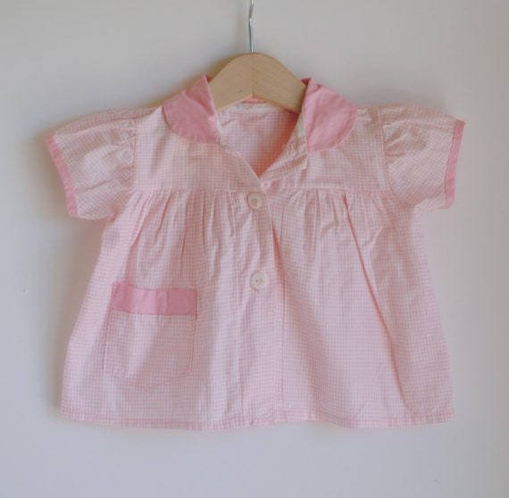 Vintage 1960's Baby Girl Shirt - Pink Plaid Peter Pan Collar (6m)