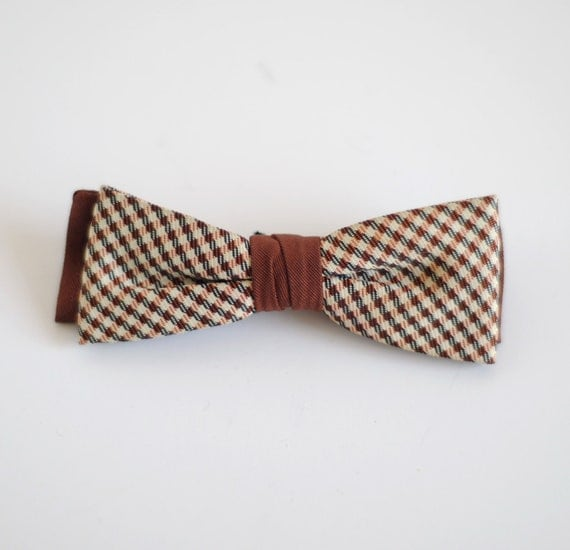 Vintage 1950's Little Boy Bow Tie - Brown and Red Plaid