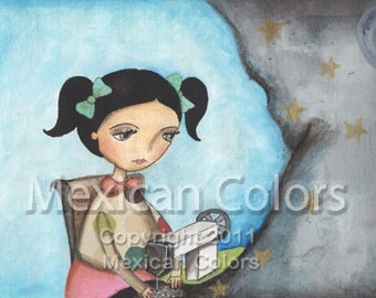 Sewing the sky - Giclee print from original painting