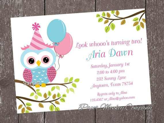 Pink and blue owl birthday invitations by paper monkey company il570xn filmwisefo