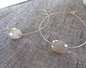 Large Sterling Silver Hoops with Grey and Cream Faceted Crystal Stones. . . Free Shipping.... BadkittyHawaii