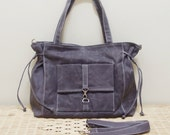 Christmas in July SALE - 20% OFF EZ in Waxed Canvas Gray / diaper bag / Shoulder Bag / Sling Bag / School bag / laptop / tote / women