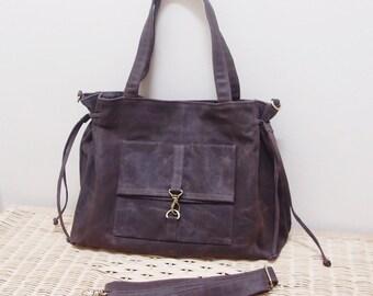Halloween SALE - 20% OFF EZ in Waxed Canvas Dark Brown  / diaper bag / School bag / Purses / laptop / tote / women / For Her
