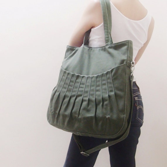 Christmas in July SALE - 40% OFF Kangaroo Max in Army Green / Shoulder Bag / Tote / Diapers Bag / Purses / Hobo / Handbags / School  / Women
