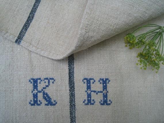 antique grain sack thin INDIGO  stripe pillow cushion runner