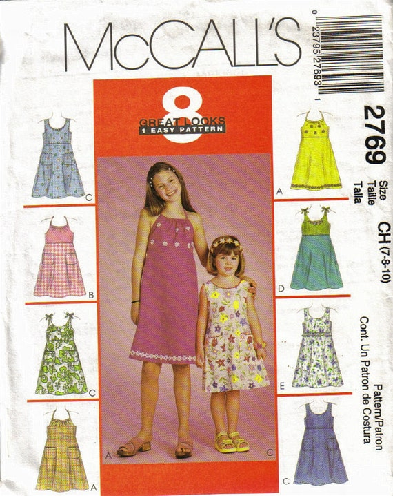 McCalls 2769 Sewing Pattern Girls Sizes 7, 8, 10 Easy