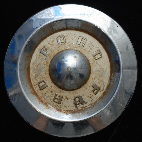 Vintage 50s mid century Ford hub cap white patina upcycle finding