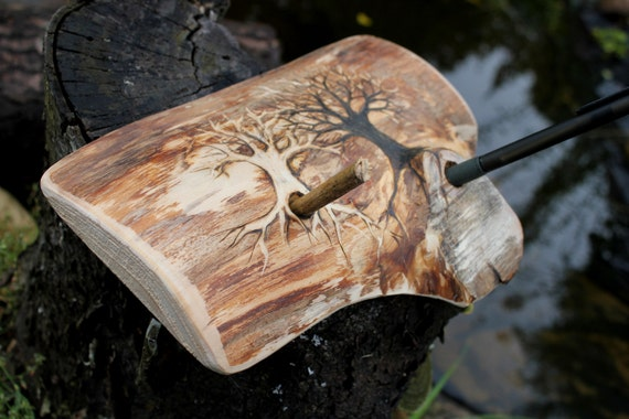 Large natural wood  pen holder two Trees of Life