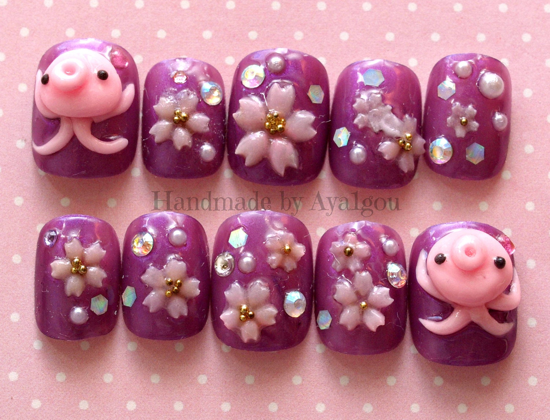 Nails octopus squid 3d nails short nail sakura cherry zoom prinsesfo Image collections