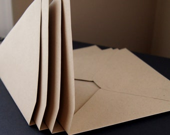 25 Square Envelopes . Paper Bag with Pointed Flap . 6.5 inches