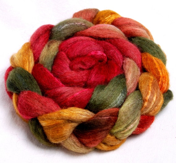 Oatmeal BFL Extra Soft, Tussah silk Handpainted 104g top roving spinning fiber fibre