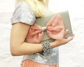 Gray Pink Organza Bow Clutch READY TO SHIP