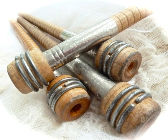 Four industrial style wooden quills