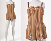 1950s Sporty Brown Stripe Pinup Bathing Suit