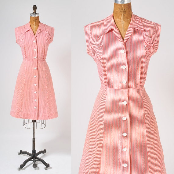 1940's Candy Striper Dress - Red and White Striped Cotton Shirtdress