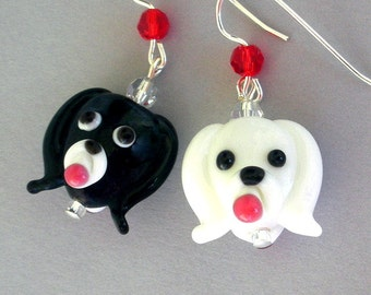 Black and white puppy earrings, lampwork glass dog earrings, mismatched earrings, dog lover earrings, dog face