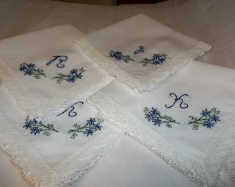 wedding handkerchief, bridesmaid hankies , bouquet wrap, hand embroidered, wedding colors welcome
