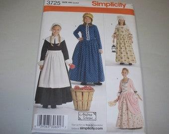 New Simplicity Girls  Pioneer/Pilgram Costume Pattern 3725  (3,4,5,6)  (Free US Shipping)