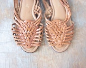 woven leather sandals / woven huaraches sandals / size 8.5