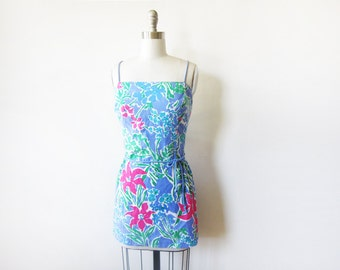 swimsuit cover up, tropical floral dress, vintage beach sundress