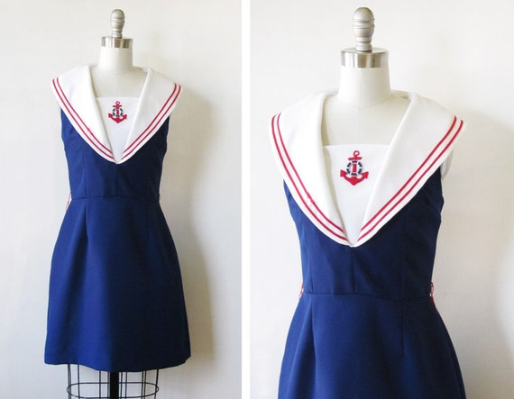 1960s sailor dress / vintage 60s nautical dress / vintage navy sailor mini dress with anchor
