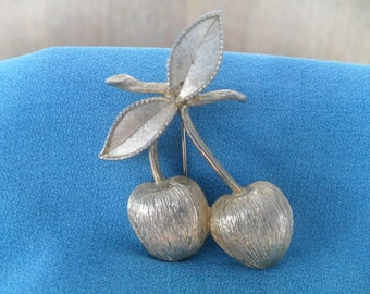 Vintage Cherry Pin Retro Cherries Brooch