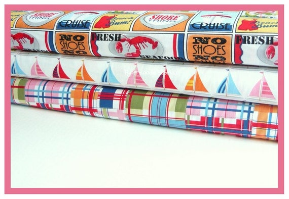 Michael Miller Fabric Trio Seaside Travel Stickers, Madras Patch and Sailor Sailboats 3 yards total