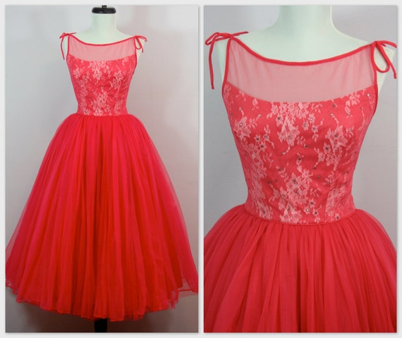 """RESERVED Vtg 1950s Emma Domb Rhinestone Illusion ROSE Party PROM Dress Lace W 23.5"""""""