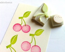 cherry hand carved rubber stamp. fruits handmade rubber stamp. spring birthday scrapbooking. diy gift wrapping. craft projects. set of 2