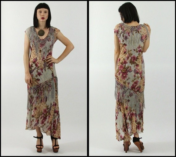 Vtg 90's does 20's FRINGE flaper FLORAL romantic WIGGLE roses/ crochet/ party dress