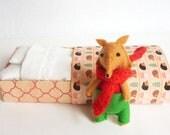 Felt fox miniature plush red green - Serafino