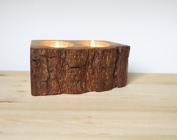 Farmhouse Candle Holder Tree Bark Tea Light Holds Two Candles Organic Eco Friendly Natural Wood Rustic Cabin Decor