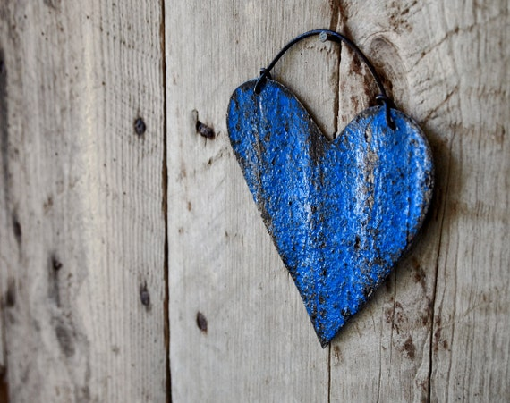 Antique Metal Heart Sail Blue Wall Decor Home Garden Fence Art