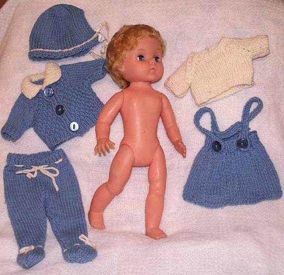 RODDY DOLL VINTAGE 1950s 15 Inch Dressed in 5 piece Handknit Wardrobe Made in England