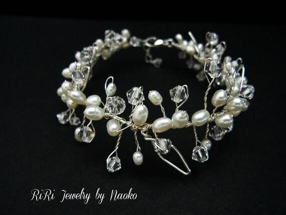 Reserved for  Kelley, Princess in Sterling Silver - Bridal Bracelet Wedding Bracelet