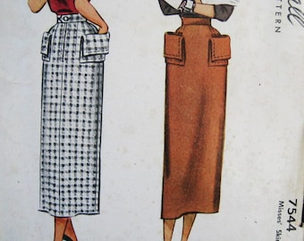 Unused Vintage 40s 50s Pencil Skirt Pattern McCall 7544,  Rockabilly Straight Skirt w/Optional Hip Pockets, Uncut FF, Dated 1949,  26 Waist