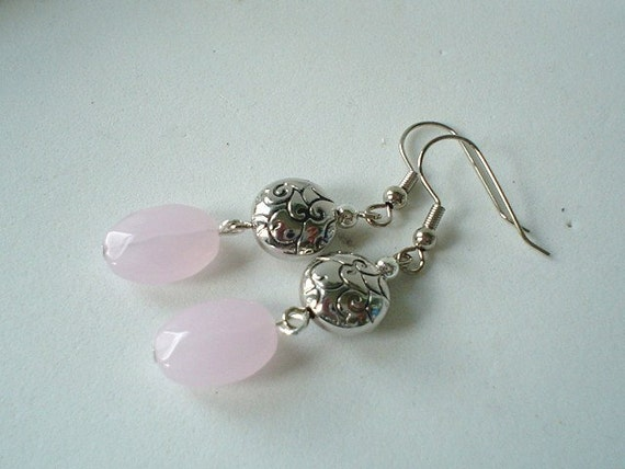 Pale Pink Glass and Pewter Silver Round Beads with Scroll Design  Dangle Beaded Earrings