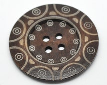 """Extra large button - 3 wooden button 60mm (2 3/8"""") - tribal pattern  #BB160D"""