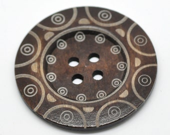 "Extra large button - 3 wooden button 60mm (2 3/8"") - tribal pattern  #BB160D"