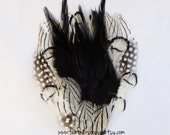 NEW - White Lady Amherst Pheasant Guinea Polkadot and Black Hackle Feather Pad Mix