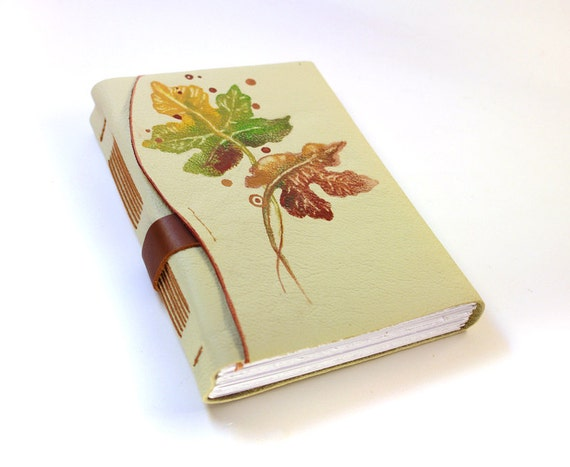 Cream Leather Journal - Fall Leaves Ephemera