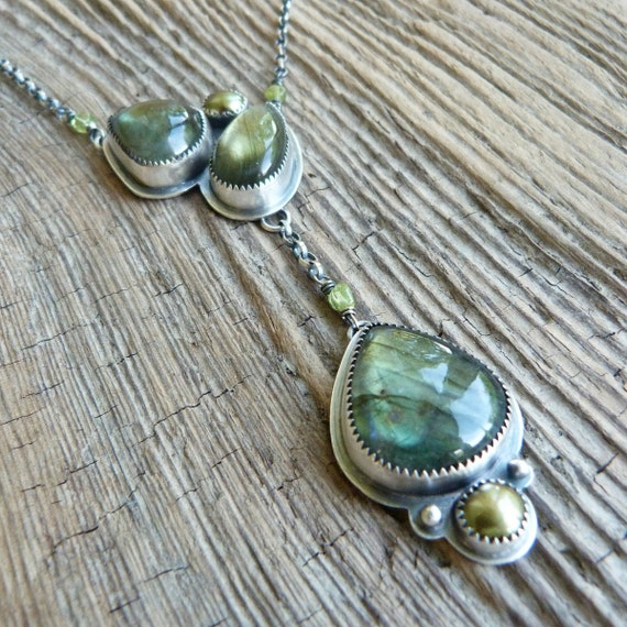 Labradorite, Pearl and Peridot Necklace in Oxidized Sterling Silver