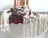 Fleece scarf brown and pink with light cream colored fringe and flower medallion print